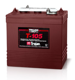 New Trojan T-105 6 Volt Deep Cycle Golf Cart Battery Free Delivery to many locations in the Northeast.